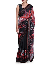 Black Printed Chiffon Saree - By