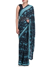 Printed Navy Blue Poly Georgette Saree - By