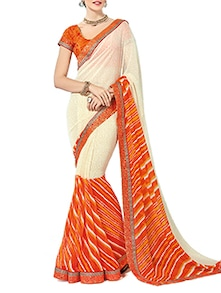 Beige & Orange Cotton Printed Saree