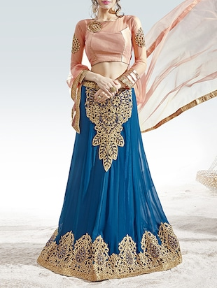 Blue Georgette Flared Lehenga