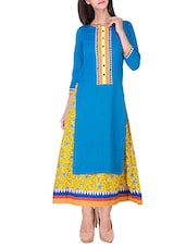 Blue Cotton Double Layer Flared Designer Kurta - By