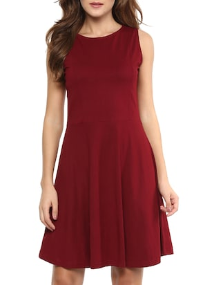 solid maroon cotton dress
