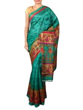 Blue  Bhagalpuri Silk Saree - By