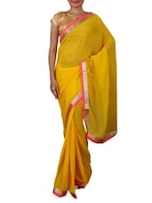 Yellow Zari Printed Chiffon Saree - By