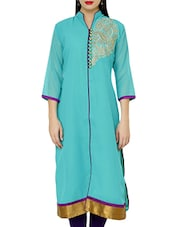 Embellished Mandarin Color Quarter Sleeve Solid Collar Kurta - Jainish