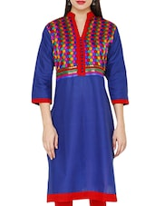 Mandarin Color Quarter Sleeve Printed Kurta - Jainish