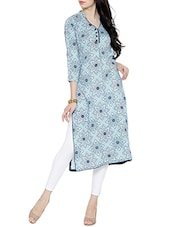 Blue Rayon Long Kurta - By