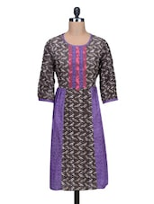 Round Neck Printed Cotton Kurta - By