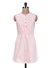 Pink Yarn Dyed Striped Polyester Dress - By