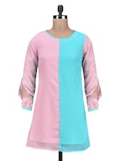 Pink Studded Poly Georgette Shift Dress - By
