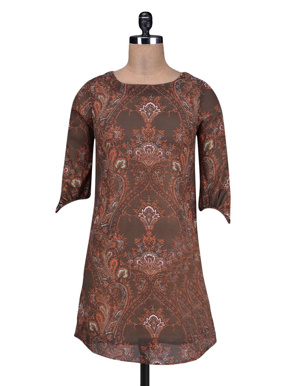 Brown Printed Poly Georgette Dress - By