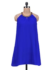 Blue Beaded Poly Georgette Dress - By