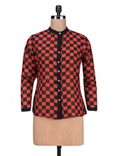 Red Printed Poly Georgette Shirt - By