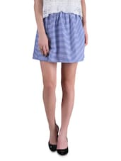 Blue Yarn Dyed Striped Polyester Skirt - By