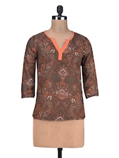 Brown Printed Poly Georgette Peplum Top - By