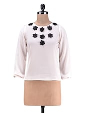 White Applique Poly Georgette Top - By