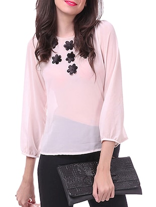 baby pink applique poly georgette top