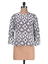 White Printed  Poly Georgette Top - By
