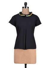 Black Poly Crepe Double Collar Top - By