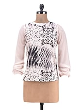 Pink Printed  Poly Crepe Poly Georgette Top - By