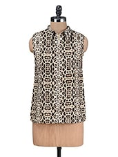 Brown Printed Poly Crepe Top - Kaccha Taanka