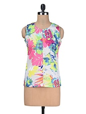 Multicolour Sleeveless Printed Poly Crepe Top - Kaccha Taanka