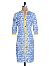 White And Blue Cotton Printed Kurti - By