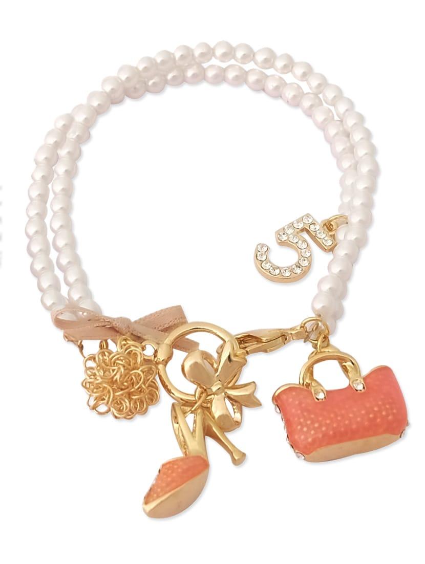 White Metallic Purse Bracelet - By