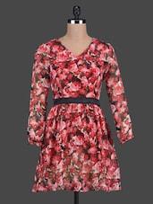 Floral Print Long Sleeve V Neck Dress - Besiva