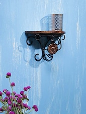 Wood & Wrought Iron Brown Wooden Wall Bracket - By