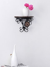 Hand Carved Wood & Wrought Iron Wall Bracket - Centenarian Art & Crafts