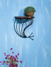 Wood  & Wrought Iron Fish Tail Wall Bracket - By