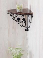 Floral Pattern Wrought Iron & Wooden Corner Wall Bracket - Centenarian Art & Crafts