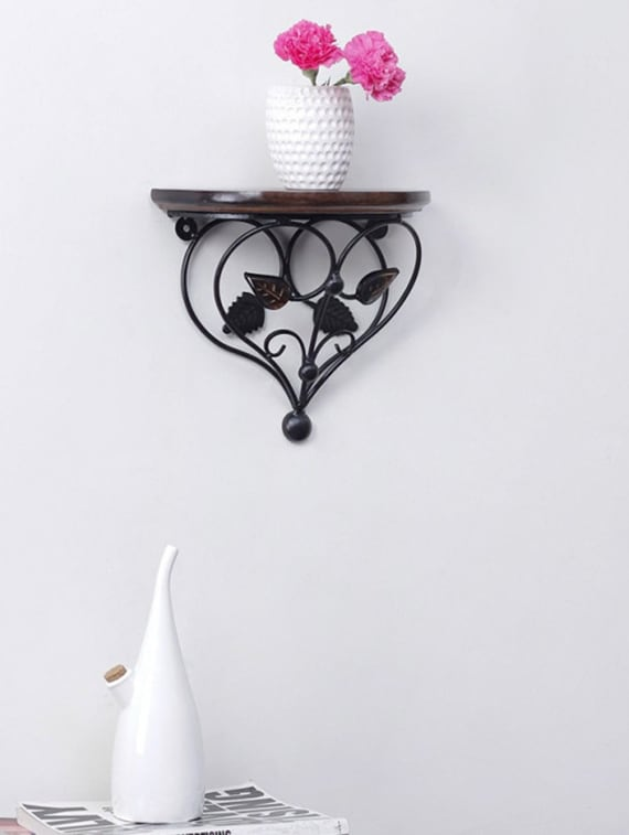 Leaf Design Wood & Wrought Iron Shelf Rack Wall Bracket - Centenarian Art & Crafts