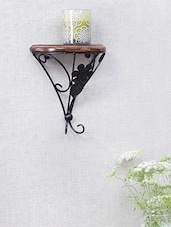 Wood & Wrought Iron Shelf Rack Wall Bracket - Centenarian Art & Crafts