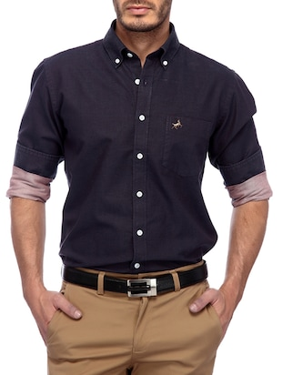 solid purple cotton casual shirt