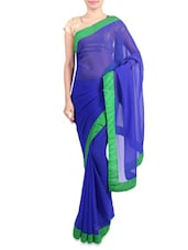 Blue Faux Georgette Saree With Green Border - By
