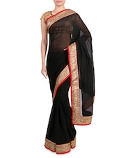 Black Faux Georgette Saree With Gold Border - By