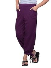 Purple Plain Cotton Capri - By
