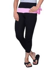 Black Plain Cotton Capri - By