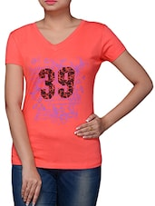 Peach Cotton Graphic Printed Top - By