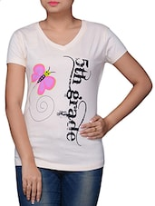 White Cotton Graphic Printed Top - By