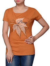 Brown Cotton Graphic Printed Top - By