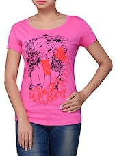 Pink Printed Cotton T-shirt - By