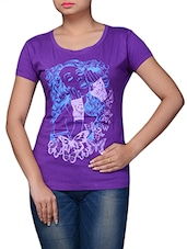 Purple Printed Cotton T-shirt - By