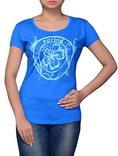 Blue Printed Cotton T-shirt - By