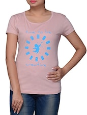 Pink Printed Cotton Round Neck T-shirt - By