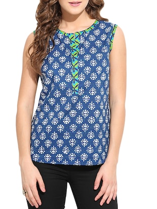 blue printed cotton regular top