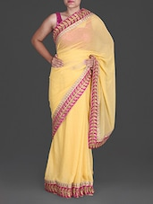 Yellow Printed Georgette Saree - By