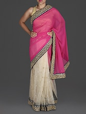 Beige And Pink Embroidered Saree - By